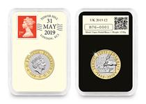 2019 DateStamp £2 features the Samuel Pepys £2 issued by the Royal Mint. Postmarked 31st May to mark 350 years since Pepys' last diary entry. Comes Protectively encapsulated and in a presentation box.