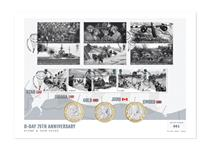 To mark the 75th Anniversary of D-Day this cover features the Royal Mail 2019 D-Day Miniature Sheet and stamps, and the Isle of Man D-Day £2 coins. Postmarked on the date 6.6.19. Edition limit: 500.