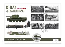 To mark the 75th Anniversary of D-Day, this cover features the 2019 Royal Mail 6v stamps and the Guernsey D-Day £5 coin featuring three military vehicles used during D-Day. Edition Limit: 250.