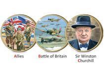 The 3 medals to start the A-Z of WWII Collection. With an antique finish they feature 'A' - Allies, 'B' - Battle of Britain and 'C' - Churchill. Designed by Trevor Mitchell with full colour printing.