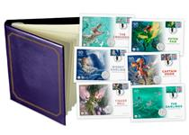The Peter Pan Complete Cover Set includes 6 Coin and Stamp covers, each featuring an official Peter Pan 50p coin alongside a specially commissioned Royal Mail Peter Pan Philatelic label. EL: 995.