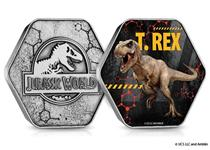 The Official Jurassic World T. Rex Medal is in the shape of DNA molecules and features a full colour image of a T. Rex dinosaur. The medal features the Official Jurassic World logo on the obverse.