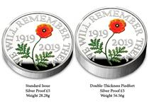 This £5 Piedfort has been issued to mark the centenary of Remembrance Day. It has been struck from .925 Silver to a proof finish and features a coloured design by Harry Brockway.