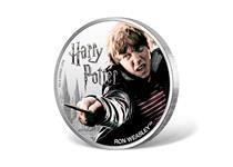 This coin is struck in 1oz of fine silver to a proof finish. Issued by Fiji, this 1 dollar coin features a coloured photographic image of Ron Weasley. Official Harry Potter Coin.