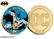 The Official DC Batman Gold-Plated Commemorative features a full colour image of the vintage Super Hero. The obverse features the Official DC Comics logo. It has been plated in 24 Carat Gold.