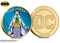 The Joker Gold-Plated Commemorative is officially licensed by DC. The reverse features a full colour image of the vintage super-villain The Joker and the obverse features the Official DC Comics logo.
