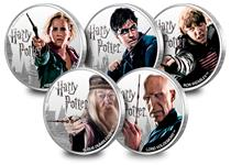 FIVE of the Official Harry Potter Silver Proof 1oz coins. Officially licensed, the new collection of Silver 1oz Coins will feature the most popular characters from scenes from Harry Potter