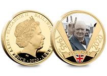 This 24 carat Gold-Plated coin features the iconic image of Winston Churchill, in full colour, giving the 'V' for Victory sign. Issued to mark the 75th anniversary of VE Day. Only 19,500 available.