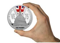 2020 marks the 75th anniversary of VE Day. The reverse of this 5oz pure silver coin features St Pauls Cathedral with lights protruding to resemble a V for victory with selective colour ink union jack.