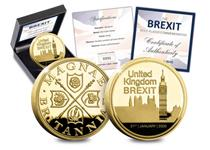A brand new commemorative struck to mark the date when the UK left the EU. Featuring the Houses of Parliament, the date and heraldic symbols of the UK. Plated in 24ct gold. Edition Limit: 4,950.