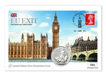 Silver Coin Cover issued to mark Britain's Exit from the European Union on 31 Jan 2020. Features a Red 1st Class Definitive and a 2020 Fine Silver Britannia. Postmarked 31/01/20. Edition Limit: 995.