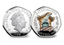 This coloured Silver Proof 50p has been struck by the Royal Mint. It features an anatomically accurate depiction of a Hylaeosaurus Dinosaur. This is the third coin in the Dinosauria 50p collection.