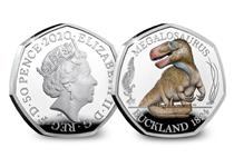This coloured Silver Proof 50p has been struck by the Royal Mint. It features an anatomically accurate depiction of a Megalosaurus Dinosaur. This is the first coin in the Dinosauria 50p collection.