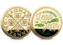 To celebrate the 2020 Leap Year the gold-plated commemorative has been printed with a frog leaping from a lily pad, with the words 'In Celebration Leap Year, Leap Day 2020, 29/02'. Edition Limit: 2020