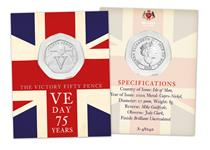 This 50p coin commemorates the 75th anniversary of VE day. Struck from CuNi to a Brilliant Uncirculated Finish, this 50p features a reverse design of Churchill doing his famous V for Victory stance.