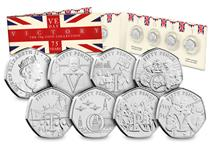 2020 commemorates the 75th anniversary of VE Day. This set features 7 50p coins each reflecting a different scene from VE Day itself. The coins also spell out VICTORY. Struck to a BU finish
