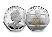 2020 commemorates the 75th anniversary of VE Day. This 50p coin features an image of Churchill doing his famous V for Victory stance, along with a selectively gold-plated V. Struck from .925 silver