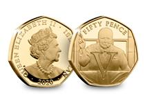 This coin commemorates the 75th anniversary of VE Day. The design features Winston Churchill in his famous V for Victory Stance along with the letter V for Victory. Struck from 22 carat gold.