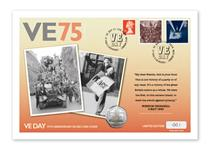 To mark the 75th Anniversary of VE Day this cover features the Royal Mail 1995 stamps and the Victory IoM Silver 50p coin. The stamps are postmarked on the coin date of issue: 27.02.20. EL: 250