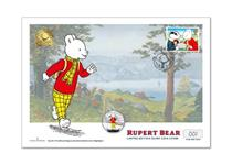 Mark Rupert Bear's 100th anniversary with this cover featuring the Royal Mail 1993 Rupert stamp and the Rupert Bear IoM Silver 50p coin. Postmarked on the date of coin issue 09.03.20. EL: 250