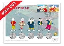 Mark the 100th Anniversary of Rupert Bear with this limited edition cover featuring Royal Mail Rupert stamps from 1993 and 1994 and 5 IoM Rupert BU 50p's. Postmarked on the coin release date 09.03.20.