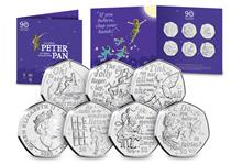 The 2020 Peter Pan 50p Set includes 6 coins, each coin features a character from Peter Pan along with a quote from the Peter Pan novel. Comes in themed presentation pack. Designed by David Wyatt.