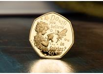 The 2020 Peter Pan Gold Proof 50p coin features an illustrstion of Peter Pan and Tinkerbell along with a quote from the book. Struck in 22ct gold to a proof finish with hand-numbered CoA.