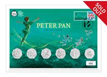 The Ultimate Peter Pan Coin Cover features all 6 Isle of Man 2020 Peter Pan 50p coins in BU condition with a quote from the books. Features a 1st Class stamp, Philatelic Label, and special postmark.