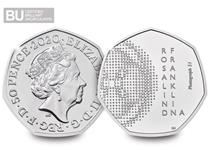 This 50p has been issued to celebrate English chemist, Rosalind Franklin, whose work was central to our understanding of DNA.