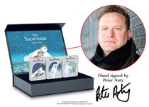 This set features 3 commemorative ingots that have designs from the Snowman Book. Raymond Briggs truly brings the magic to life. The Certificate in this set has been signed by Peter Auty! El: 250