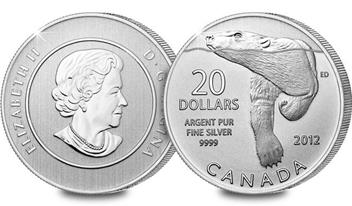 Canadian 2012 Pure Silver Polar Bear $20 Coin