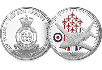 Queens 90th Red Arrows Flypast Commemorative Obverse and Reverse
