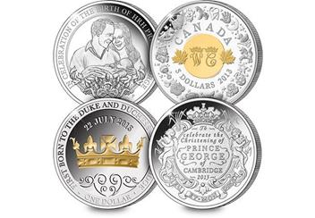 Prince George Four Coin Silver Set Coins