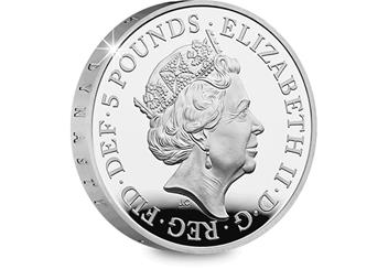 UK 2017 House of Windsor Silver Proof £5 Coin Obverse