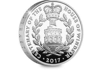 UK 2017 House of Windsor Silver Proof £5 Coin Reverse