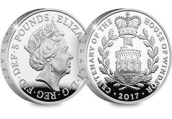 UK 2017 House of Windsor Silver Proof £5 Coin Obverse/Reverse