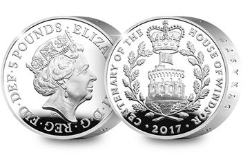 UK 2017 House of Windsor Silver Piedfort Coin Obverse/Reverse
