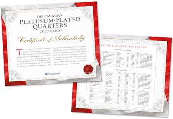 Canada Platinum Plated Quarters Collection Certificate