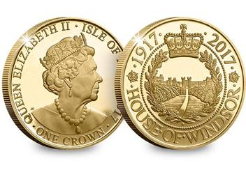House of Windsor Gold-Plated Proof Crown Coin Obverse Reverse