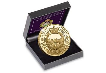 House of Windsor Gold-Plated Proof Crown Coin in Display Case