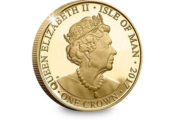 House of Windsor Gold-Plated Proof Crown Coin Obverse