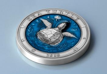 2018 Sea Turtle Coin Flat Bg