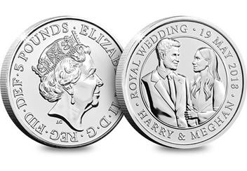 2018 Royal Wedding Bu Five Pound Royal Mint Packaging Obverse Reverse