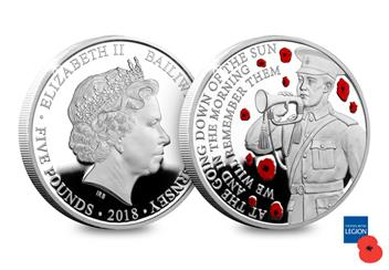 Wwi Armistice 100Th Guernsey Silver Proof Coin Both Sides
