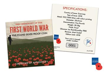 Wwi Armistice 100Th Guernsey Silver Proof Coin Cert