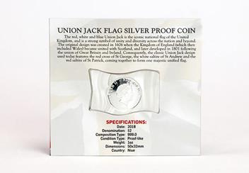 2018 Union Jack Flag Shaped Silver Coin In Pack Back