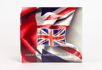 2018 Union Jack Flag Shaped Silver Coin In Pack Front