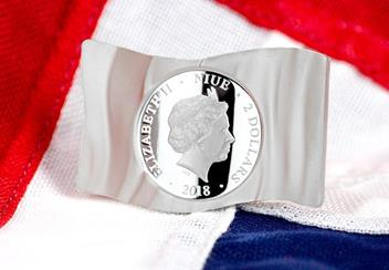 2018 Union Jack Flag Shaped Silver Coin Obverse Lifestyle