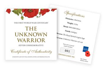Unknown Warrior Silver Commemorative Certificate Of Authenticity