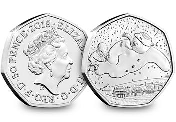 2018 Uk Snowman 50P Datestamp Coin Obverse Reverse